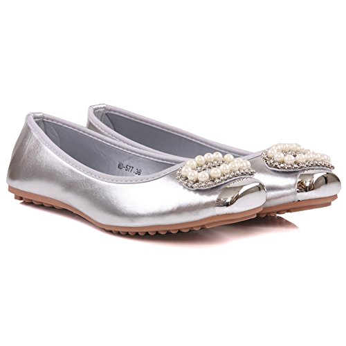 Unze Womens 'Mira' verschönert Art und Weise pumpt - MD-577 Silber