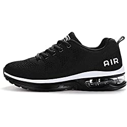 Axcone Homme Femme Air Baskets Chaussures Outdoor Running Gym Fitness Sport Sneakers Style Running Multicolore Respirante-Blanc Noir 40