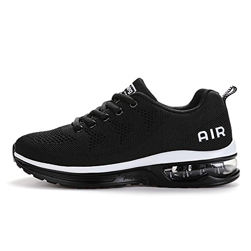 Axcone Homme Femme Air Baskets Chaussures Outdoor Running Gym Fitness Sport Sneakers Style Running Multicolore Respirante-Blanc Noir 42