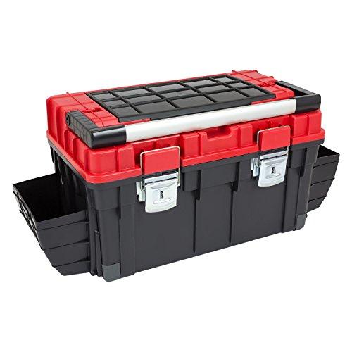HD Trophy 3 Plus Werkzeugkoffer Box Toolbox Werkzeugkiste 595x345x355 Alugriff schwarz / rot