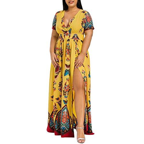 VEMOW Plus Size Elegante Damen Frauen Casual Kurzarm Kalt Schulter Boho Blumendruck Casual Täglichen Party Strand Langes Kleid Schulterfrei Strandkleid(Y3-Gelb, EU-54/CN-5XL) (Schickes Size Womens Kleid Plus)