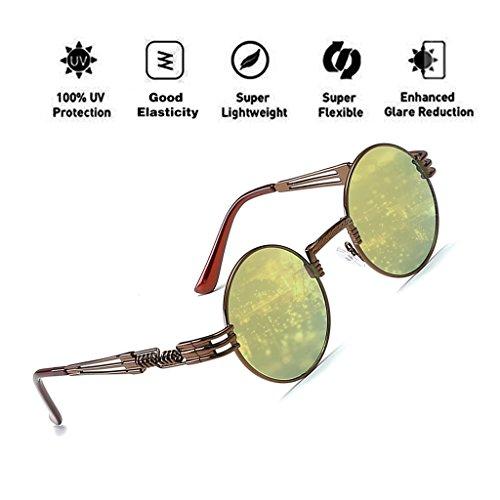 ATNKE John Lennon Brille Quavo Steampunk Runde Sonnenbrille Kreis Metallrahmen Übergroße Retro Vintage Federbein Brillen für Männer und Frauen UV400 Schutz T6