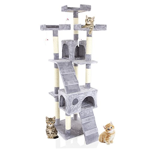 Cozy Pet Deluxe Multi Level Cat Tree Scratcher Activity Centre Scratching Post Toys with Heavy Duty Sisal in Grey CT04-Grey. (We do not ship to NI Scott Highlands & Islands Channel Islands IOM or IOW)