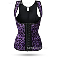 HL-Abdomen Corset Corset Corset ropa interior de cuerpo ancho cintura abdomen con correa de plástico,Purple Leopard Print,L