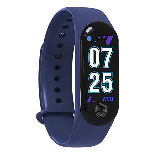 Sguan-wu M3plus - Bracciale Smart con contapassi, Impermeabile, Colore: Blu, Blu