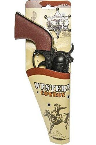Preisvergleich Produktbild Karneval Pistole Westernpistole Kinderpistole + Sheriffstern Cowboy Pistole !