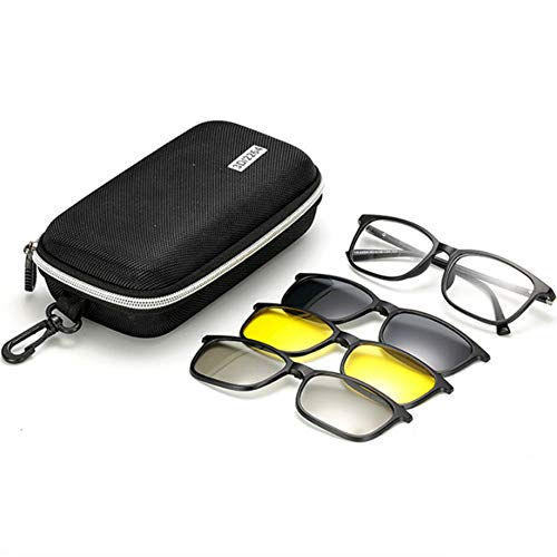 hlq UV400 Polarized Lens, PC-Brichrahmen Mit 3 Clips, Alloy Hinge Combination Night Vision (Send Glasses Box)