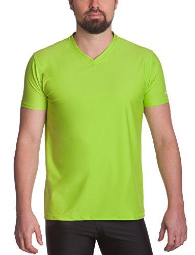 iQ-UV Herren 300 Regular geschnitten, V-Ausschnitt, UV-Schutz T-Shirt, Neon-Green, M (50) -