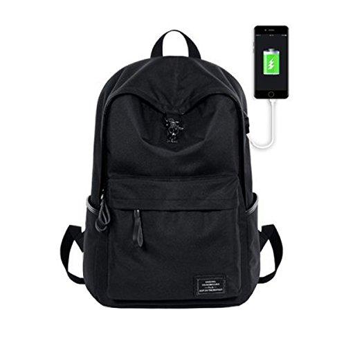 LQABW Serratura Creativa Del Sacchetto Di Spalla Del USB Di Ricarica Che Escono In Zaino Sacchetto Da Viaggio Esterno 20-35L,Gray Black