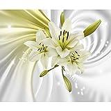 decomonkey | Fototapete Blumen Lilien 350x256 cm XL | Tapete | Wandbild | Wandbild | Bild | Fototapeten | Tapeten | Wandtapete | Wanddeko | Wandtapete | 3d Effekt Abstrakt weiß grün