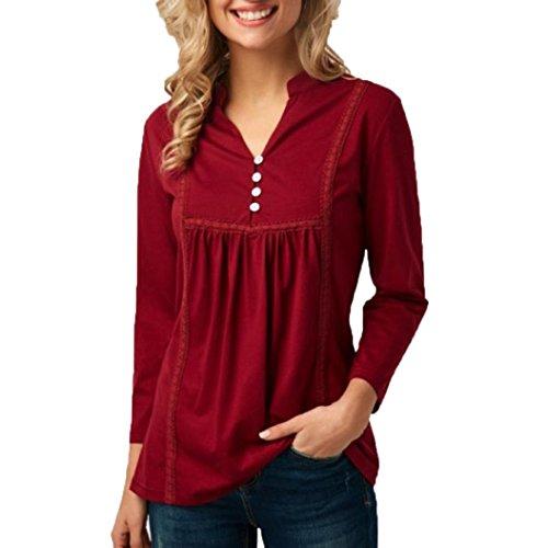 Kobay-Damen Solide Casual V-Ausschnitt Knopf Langärmelige Bluse Tops (Knöpfe Solide V-ausschnitt)