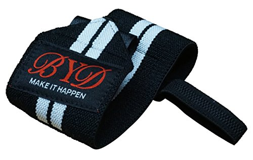 Beyond Dreams® Bandagen (weiße Streifen) | Profi Handgelenkbandage | Handgelenk- stütze - schoner | Bodybuilding Fitness Crossfit Turnen Krafttraining | Frauen Männer | waschbar | Premiumqualität