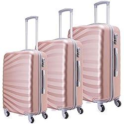 """Toctoto Ensemble de valise légère avec coquille dure 3 pièces (20 """"24"""" 28 """") (Or Rose)"""