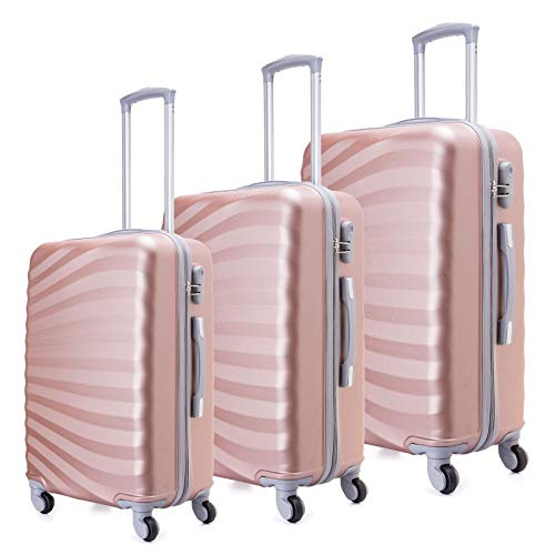 Juego de maletas livianas con cáscara dura de 3 piezas (20 '24' 28 ') ( Oro Rosa )