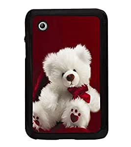 Fuson Premium 2D Back Case Cover Cute Teddy with Blue Background Degined for Samsung Galaxy Tab 2 P3100