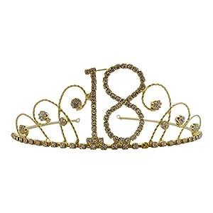 Pick A Gem Hair Accessories, Geburtstags-Tiara, 18 Karat vergoldet, mit Strasssteinen, Krone zum 18. Geburtstag, Geschenkidee
