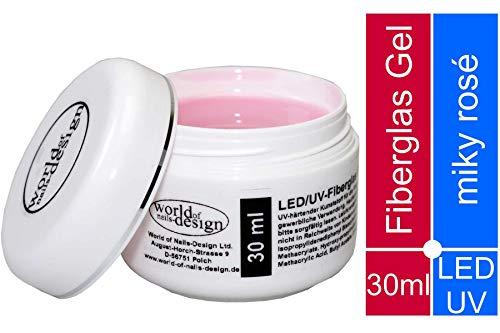 30 ml LED/UV-Fiberglas Gel dickviskose milchig rosa 1 Phasengel, Aufbaugel