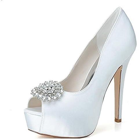 Ei&iLI Satén tacones Peep Toe/plataforma boda partido baile boda zapatos bombas de las mujeres , ivory ,