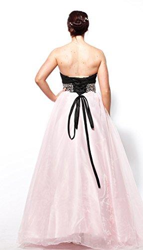 atopdress - Robe - Broderie perlée - Sans Manche - Femme Rose Rose 36 noir/rose