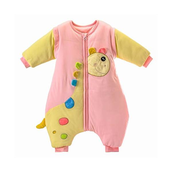Saco de Dormir para bebé con piernas, cálido Forro de algodón de Invierno y Manga Desmontable. Azul Blue / 3.5 TOG Thickened Talla:M Size: 90 (1-2years)