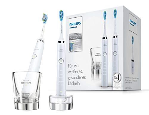 Philips Sonicare DiamondClean Elektrische Zahnbürste Doppelpack HX9327/87 - 2 Schallzahnbürsten mit 5 Putzprogrammen, Timer & Ladeglas - Weiß