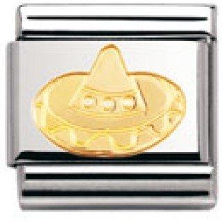Nomination Composable Classic Fun Edelstahl und 18K-Gold (Sombrero) 030110 - Gold Sombrero