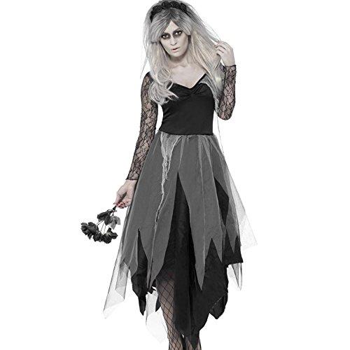 Kostüm Kostüm Braut Zombie (Halloween kostüm Damen Zombie Braut Leiche Vampir Gruseliger Effekt Kleid)