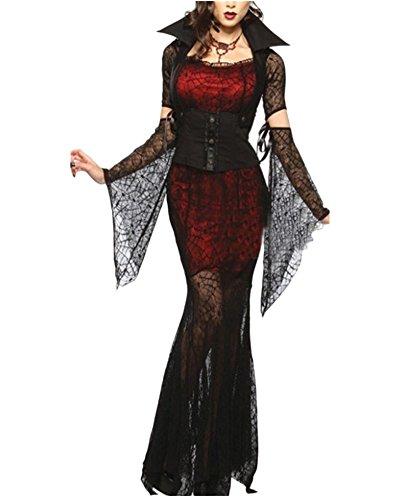 Damen Kostüm Für Karneval Halloween Zombie Braut Vampir Kostüm Kleid Schwarz3 S