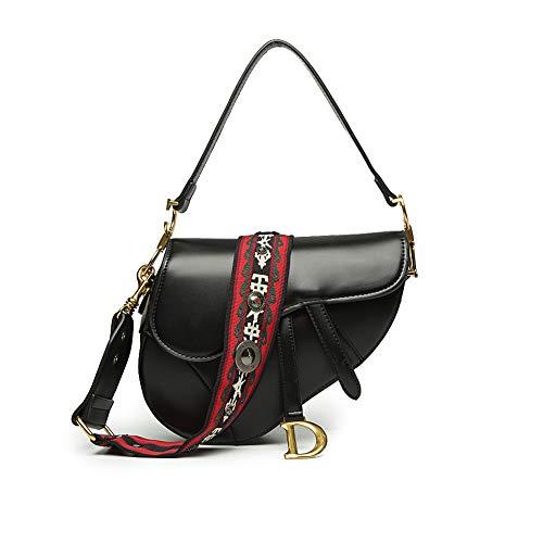 Onzama Mode Saddle Satchel Taschen für Frauen Designer Crossbody Handtaschen Schulter Geldbörsen für Damen (Pures Schwarz)