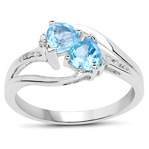 La Collection Bague de Topaze Bleue : Bague avec le Coeur les Jumeaux de Topaze Bleue et du Diamant en argent, Bague de fiançailles Taille Bague 58