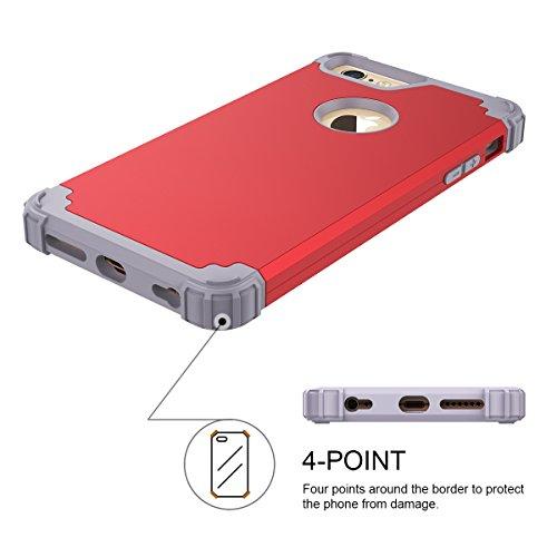 WE LOVE CASE iPhone 6 Plus / 6S Plus Coque, Étui de Protection en Premium Hard Plastique Dur Housse Mince et Clair, 2 in 1 Bumper Anti-Rayures Cas Couverture Anti-dérapante Coque pour Apple iPhone 6 P rouge