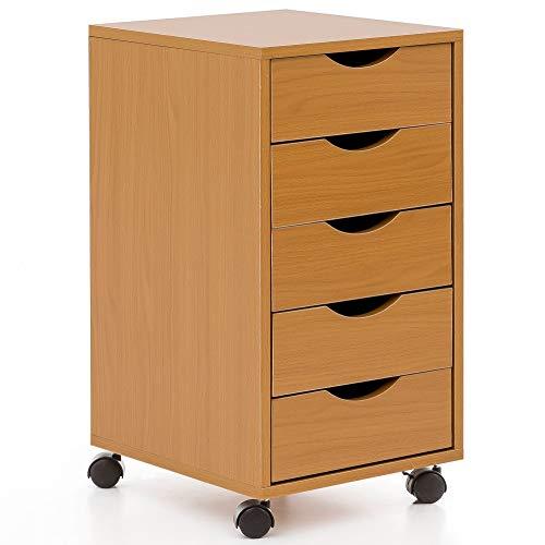Mdf Moderner Schreibtisch (KADIMA DESIGN Rollcontainer 33x64x38cm Buche MDF-Holz Schreibtisch-Container Rollschrank 5 Schubladen Moderner Schubladencontainer mit Rollen Standcontainer Bürocontainer Beistellcontainer Braun)