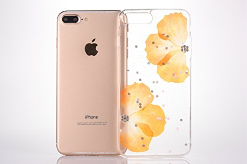 Cover per iPhone 7 Plus/iPhone 8 Plus (5.5), EUWLY Bling Glitter TPU Silicone Custodia per iPhone 7 Plus/iPhone 8 Plus (5.5), Bello Colorato Fiore Disegno Trasparente TPU Crystal Clear Morbido Coper Mezza Fiore Giallo