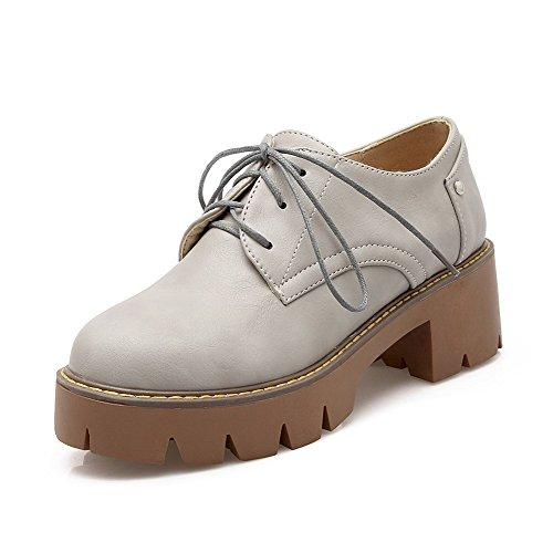 AgooLar Femme Matière Souple Rond à Talon Correct Lacet Mosaïque Chaussures Légeres Gris