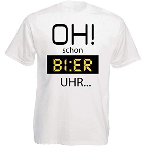 Herren T-Shirt Weiss Modell: Oh! Schon Bier Uhr. -