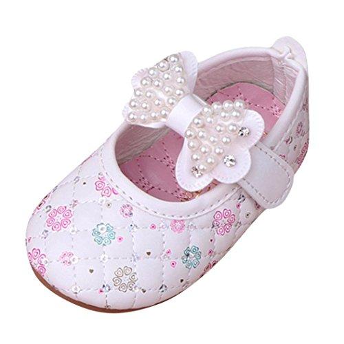 (Hirolan Baby Mädchen Prinzessinnen Schuhe Taufschuhe Bogen Flache Schuhe Weich Krippeschuhe Blumen Bootsschuhe Perlen Sandalen Kinderschuhe Turnschuhe)