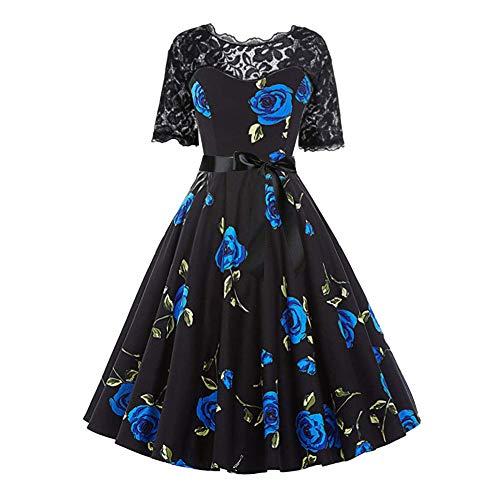 Billig 2 Kostüm Assassin's Creed - Aiserkly Damen Rockabilly Kleid Elegante Kleider Knielang Vintage Abendkleid Bodycon Party Prom Swing Dress Retro Lace Eine Linie Casual Kleider Blau M