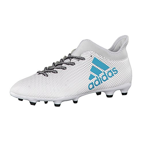 adidas X 17.3 Fg, Chaussures de Football Homme, Blanc Blanc (Footwear White/Energy Blue/Clear Grey)