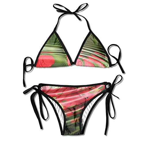 Drop-leaf Top (Women's Thong Bikini Suit Swimsuit Water Drop Dew Plant Leaf Sexy Bikini Set 2 Piece)