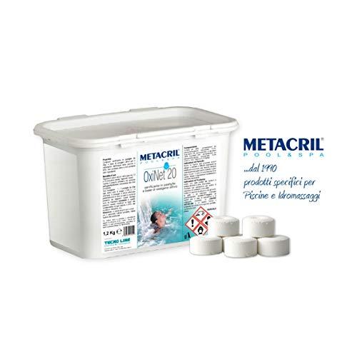 Oxi Net - Oxygène actif en pastilles de 20 g, 1,2 kg - idéal pour n'importe quel type et marque de piscine ou jacuzzi (Teuco, Jacuzzi, Hafro, Glass, Dimhora, Intex, Bestway, etc.) -