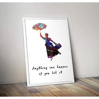 Mary Poppins inspiriert Aquarell Poster Print Geschenke – Alternative TV/Film Poster in verschiedenen Größen (Rahmen nicht im Lieferumfang enthalten)
