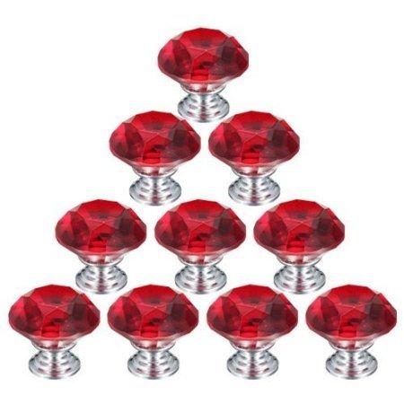 10 PCS 30mm Rot Flache runde Kristallglas Türknauf /MöbelKnopf /Möbelgriffe für Küche Schränke, Kleiderschrank, Kommode, Schublade,Schranktür Schlafzimmer und Badezimmer etc. Vintage DIY Home Deko (Türgriffe Innen In Bulk)