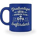 Shirtee Großartige Väter werden zum Opa befördert - Geschenk für Opi, Großvater, Großvati zum Geburtstag, Vatertag oder Geburt eines Enkels - Tasse -M-Royal Blau
