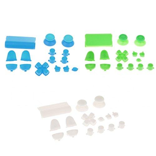 Sharplace 3x Button Modding Set Buttons Thumbsticks D-Pad Knöpfe für Sony PS4 Playstation Controller - Blau + Grün + Weiß