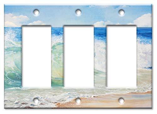 Art Plates Marken-Schalter/Wandteller, Strandmalerei Triple Rocker - 2 Rocker Wall Plate