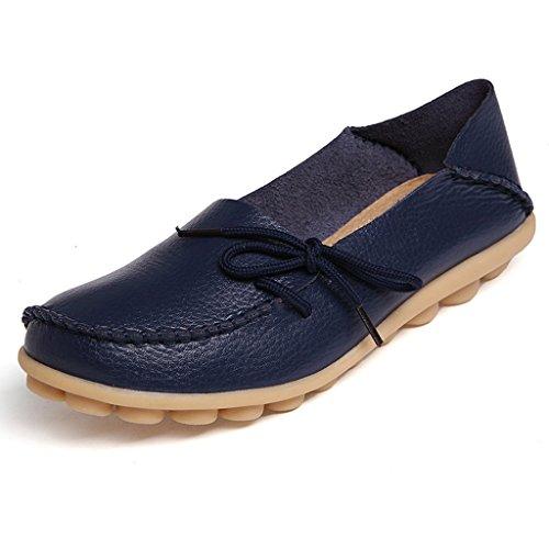 Oriskey Mocassins Femme Cuir Loafers Casual Bateau Chaussures de Ville Flats Bleu foncé