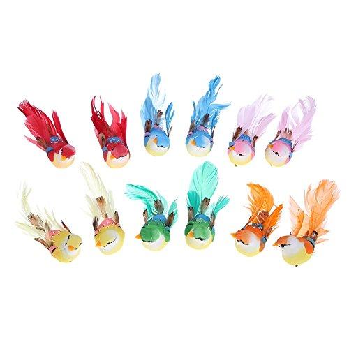 Prosperveil Bunte künstliche Vögel auf Clips Federschaum Vogel zum Basteln Garten Zuhause Ornamente Hochzeit Party Requisiten Dekoration, Clip On-12pcs