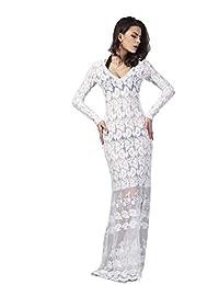 Neighbor Girl falda atractiva del vestido de noche de la manera mini vestido de gasa con cuello en V de encaje