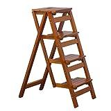 ZLL - Klappstufen Holz Dienstprogramm Trittschemel - Faltbare Bibliotheksleiter Stuhl 4-Schritt-Hocker für Erwachsene | 4-farbige optionale Klappleiter | Küche Garten Bad Klappbarer Tritthocker