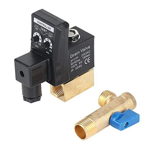 CHOULI Elektronischer zeitgesteuerter Luftkompressor-Gastank Automatisches 2-Wege-Ablassventil 1/2